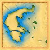 Mappa antica della Grecia Fotografia Stock