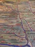 Mappa antica della Lombardia con Milano Fotografie Stock