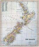 Mappa antica della Nuova Zelanda Immagini Stock