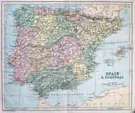 Mappa antica della Spagna e del Portogallo Fotografia Stock Libera da Diritti