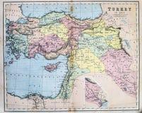 Mappa antica della Turchia in Asia Immagine Stock