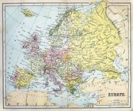 Mappa antica di Europa Fotografia Stock