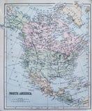 Mappa antica di Nord America Fotografie Stock Libere da Diritti