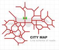 Mappa astratta della città - vie della città sul piano Fondo urbano di traffico Schema lineare della strada Vettore royalty illustrazione gratis