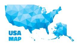 Mappa astratta di U.S.A. - illustrazione di vettore - struttura geometrica nel colore blu illustrazione vettoriale