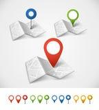 Mappa astratta piegata della città Fotografie Stock