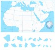 Mappa in bianco del profilo dell'Africa del Nord e di Medio Oriente Fotografie Stock
