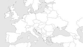 Mappa in bianco del profilo di Europa con la regione caucasica Mappa semplificata del wireframe dei confini allineati del nero Il Immagini Stock
