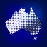 Mappa in bianco dell'Australia Mappa dell'Australia di concetto nel fondo blu Fotografia Stock