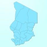 Mappa blu della Repubblica del Chad su fondo degradato Fotografia Stock