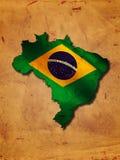 Mappa brasiliana con la bandiera Fotografia Stock Libera da Diritti