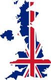Mappa BRITANNICA con il modello di Union Jack Fotografia Stock