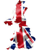 Mappa BRITANNICA con la bandiera d'ondeggiamento Immagine Stock Libera da Diritti