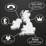 Mappa BRITANNICA 3D Elementi del infographics sui dati economici Fotografie Stock Libere da Diritti