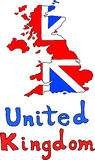 Mappa britannica del Regno Unito illustrazione di stock