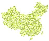 Mappa cinese fatta delle icone di ecologia Fotografie Stock Libere da Diritti