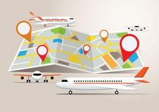 Mappa con gli aerei e la destinazione Immagine Stock