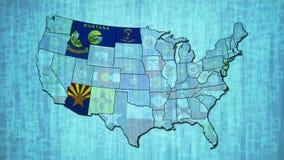 Mappa con gli stati infiammanti di U.S.A. stock footage