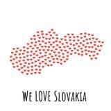 Mappa con i cuori rossi - simbolo della Slovacchia di amore sottragga la priorità bassa Immagine Stock Libera da Diritti