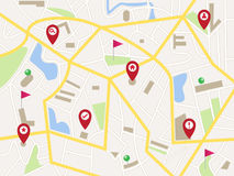 Mappa con i perni e le bandiere rossi del puntatore Fotografia Stock Libera da Diritti