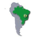 Mappa con il Brasile Fotografia Stock Libera da Diritti