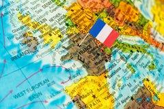 Mappa con la bandiera della Francia Fotografie Stock Libere da Diritti