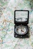 Mappa con la bussola Fotografia Stock