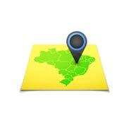 Mappa con un indicatore sul Brasile Immagine Stock