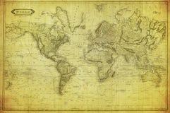 Mappa d'annata del mondo 1831 Fotografia Stock Libera da Diritti