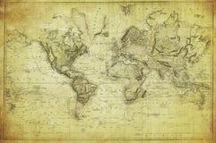 Mappa d'annata del mondo 1831 Fotografie Stock