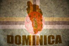 Mappa d'annata della Dominica Fotografia Stock