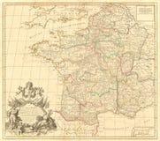 Mappa d'annata della Francia Fotografie Stock Libere da Diritti