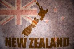 Mappa d'annata della Nuova Zelanda Fotografie Stock