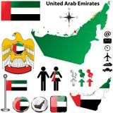 Mappa degli Emirati Arabi Uniti Immagini Stock