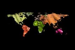 Mappa degli ortaggi da frutto del mondo Fotografie Stock Libere da Diritti