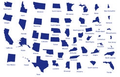 Mappa degli Stati Uniti Fotografie Stock