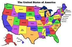 Mappa degli Stati Uniti con i nomi dello stato Immagine Stock