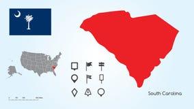 Mappa degli Stati Uniti con lo stato selezionato di Carolina And South Carolina Flag del sud con la raccolta dell'indicatore di p illustrazione di stock