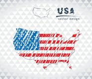 Mappa degli Stati Uniti d'America con la mappa di schizzo disegnata a mano dentro Illustrazione di vettore illustrazione vettoriale