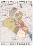 Mappa dei colori d'annata della mappa dell'Irak ed icone piane rotonde illustrazione vettoriale