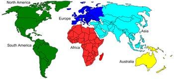 Mappa dei colori del mondo illustrazione di stock