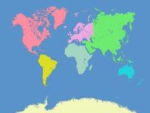 Mappa dei continenti e del mondo Fotografie Stock