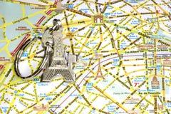 Mappa dei monumenti di Parigi Fotografia Stock