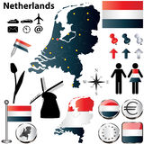 Mappa dei Paesi Bassi Fotografia Stock