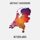 Mappa dei Paesi Bassi, Olanda in poligonale geometrico, stile del mosaico Immagine Stock