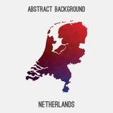 Mappa dei Paesi Bassi, Olanda in poligonale geometrico, stile del mosaico Fotografie Stock Libere da Diritti