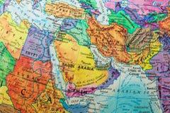 Mappa dei paesi di Medio Oriente, primo piano del globo Fotografia Stock Libera da Diritti
