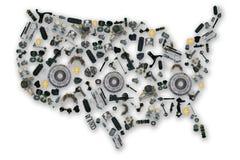 Mappa dei pezzi di ricambio dell'america Immagini Stock