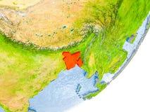 Mappa del Bangladesh su terra Fotografia Stock