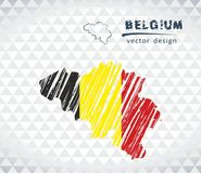 Mappa del Belgio con la mappa di schizzo disegnata a mano dentro Illustrazione di vettore Immagini Stock
